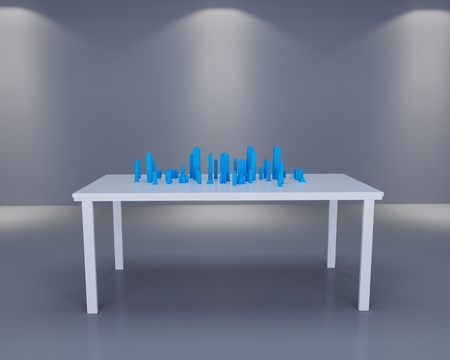 holograph: Holographic city on table in white room Stock Photo