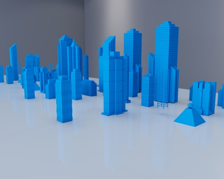 Holographic city on table in white room Stock Photo