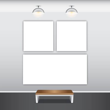 illustraton: Mock up poster with ceiling lamps, 3d illustraton