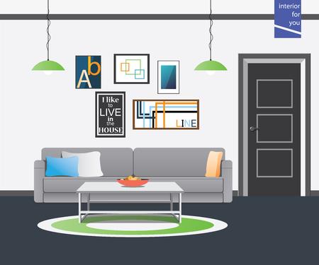 arredamento classico: soggiorno stile interno whith tavolo bianco Vettoriali