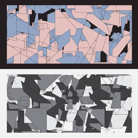 urban sprawl: abstract pattern background geometry on black back Illustration