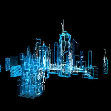 3d hologramme d'interface futuriste. ligne blanche et la forme