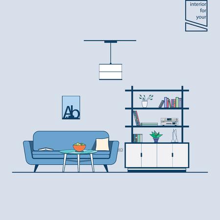 modern living room: sofa in interior modern style living room