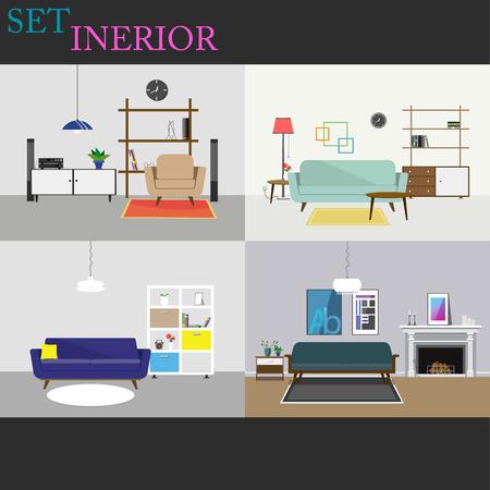 modern interior: set collection interior modern style living room Illustration