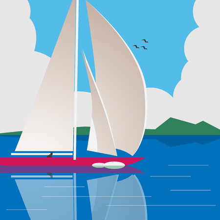 calm water: illustration of a man sailing a yacht on calm water