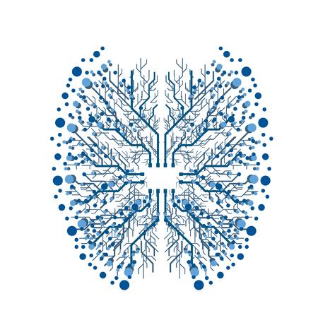 Digital chip brain illustration on white background