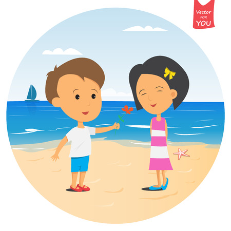 shy: The boy gives a flower to the girl on the beach. Girl shy Illustration