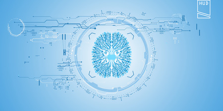 Abstract future, concept  futuristic blue virtual graphic touch user interface HUD. Illustration