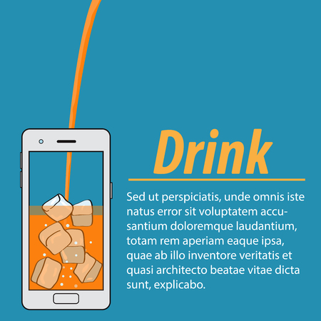 Orange juice with ice cubes in the phone on blue background.