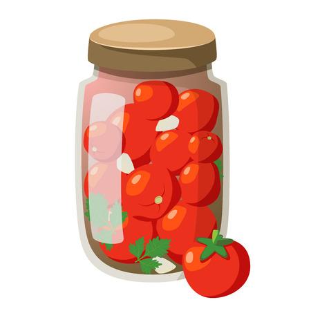 Icon cartoon marinated tomatoes in glasses. Fresh tomatoes