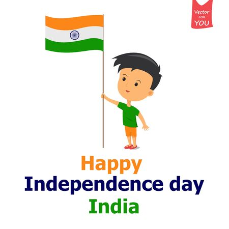 illustration of a boy holding Indian flag