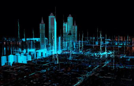 ホログラム 3 d 未来的な都市のネオンの光をレンダリングします。