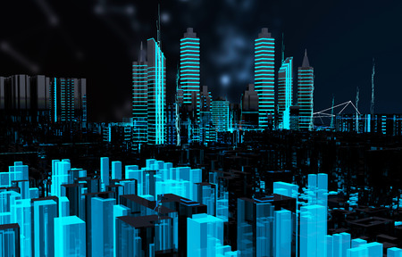 futuristic city: Render hologram futuristic 3d city neon light
