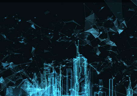 Hud を抽象的なホログラム未来都市の主要なレンダリング