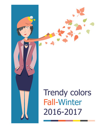 autumn fashion: Cartoon girls in autumn fashion. Trendy colors fall-winter 2016-2017