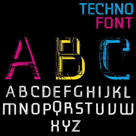 Future Techno Alphabet on black background. HUD main text