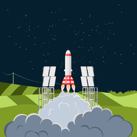spaceport: Space shuttle rocket launch from spaceport. Flat vector illustration.
