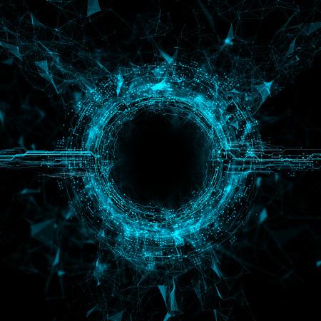 spaceport: Rendering Energy Circle Hologram on black background. Energy stream Hologram