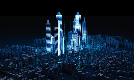 city background: Rendering Abstract triangle city on dark background. Stock Photo
