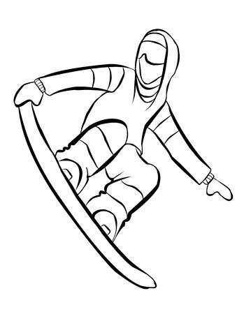 Het wintersportgebied. Snowboarder in sprong. Houdt hand Board Vector Illustratie