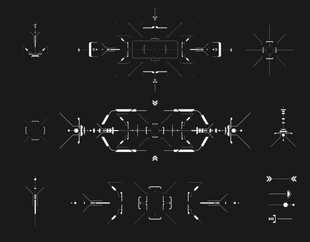 futuristic: set of black and white infographic elements. Head-up display elements for the web and app. Futuristic user interface. Virtual graphic