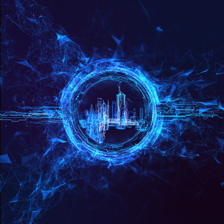 stream: Rendering Energy stream Hologram on black background. Energy stream Hologram Stock Photo