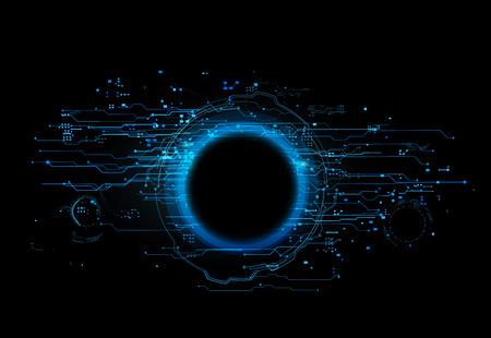 hole: Interface technological hole on black baground. Tech Hole. Futuristic interface Illustration