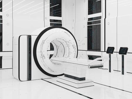 magnetic resonance imaging: 3D illustration.Render Magnetic resonance imaging. Technology medicine. mri
