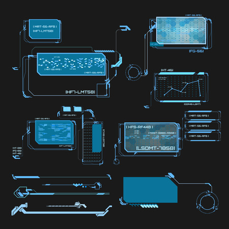 drop down: Element user interface. HUD. hi-tech main. Blue elements Illustration