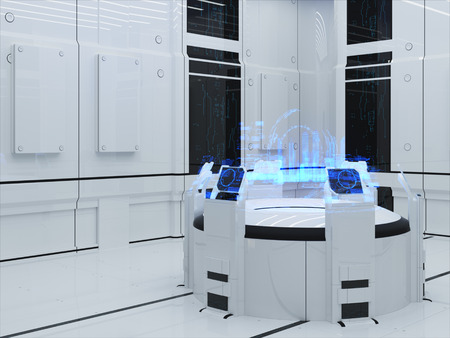 drop down: Futuristic Interior. Projection hologram Sector City. Interface Display Stock Photo