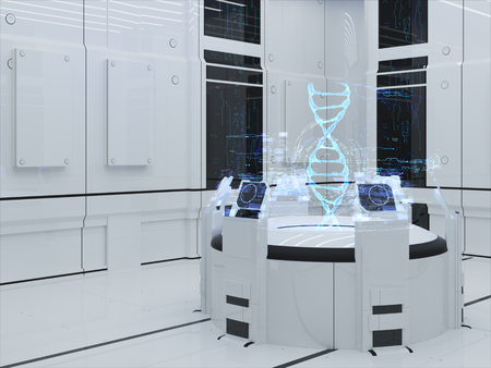 drop down: Render Futuristic Interior. DNA projection Hologram. Technology