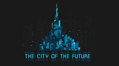 bilding: Futuristic city. Banner. Creative idea Future city