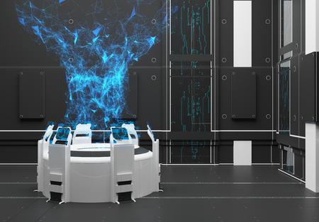 Render futuristisch interieur. Hologram. Energiestroom. Power UI-interface touchscreen Stockfoto