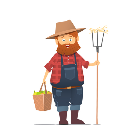 Funny farmer character. Isolated vector illustration. EPS10