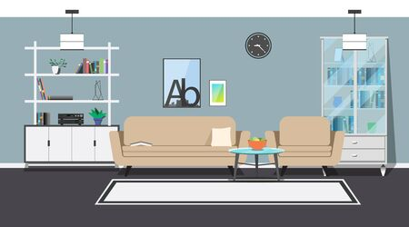 living room design: Modern interior. Sofa, armchair and coffee table. Cabinets and shelves with utensils. Decorative elements.
