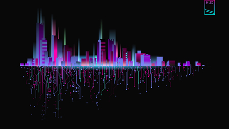 Futuristic city in neon lights. Future City. Neon light. Abstract City