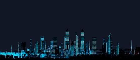Cityscape futuristic 3d city neon light Stock Photo