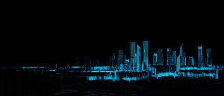 Cityscape futuristic 3d city neon light Standard-Bild