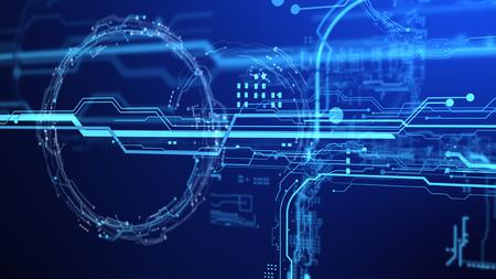 dashboard: Futuristic user interface. Element user interface. Blue elements. 3d projection. 3d hologram. 3d rendering. 3d illustration. Rendering Power Circle Hologram on black background