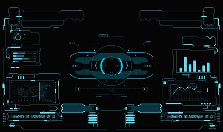 Sci-Fi UI 팩. HUD 인터페이스, 터치 패널 또는 게임 인터페이스를위한 미래 지향적 인 사용자 인터페이스