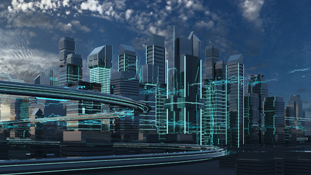 digital background: Futuristic skyscrapers in the flow. The flow of digital data. city of the future. 3D illustration. 3D rendering