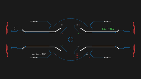 대상 요소 인터페이스. 우주선에 대한 광경. 미래의 인터페이스. 게임 시뮬레이터 용