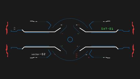 Doelelementen interface. Een zicht op een ruimteschip. De interface van de toekomst. Voor spelsimulator