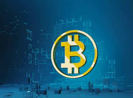 Golden letter B in the ring on the background of the program code and hologram. Business city bitcoin 3D illustration of bitcoin symbol rising from modern city on the waterfront Futuristic skyscrapers in the flow of information. 3d render. 3D illustration.
