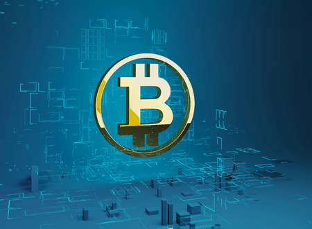 Business city bitcoin 3D illustration of bitcoin symbol Golden letter B in the ring on the background of the program code and hologram