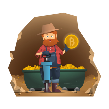Prospector holding a gold coin. Gold bitcoin trolley with gold