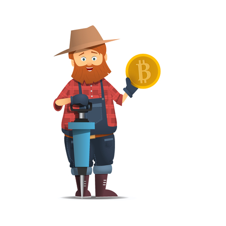 Miner with jackhammer. Cartoon character with the bump holding a gold coin Gold bitcoin