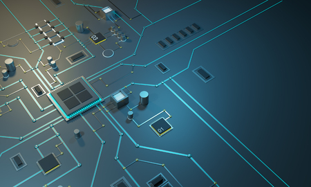 High tech electronic PCB Printed circuit board with processor, microchips and glowing digital electronic signals. 3d illustration 3d render The processor on the integrated circuit. Energy lines neon colors. Data streams. Chips