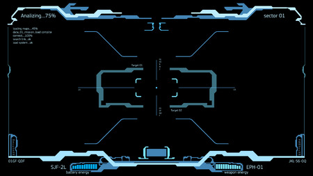 Element of the interface. A sight on a spaceship. The interface of the future. HUD interface. Simulator game. Display spaceship. Illustration