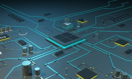 Multicore processor on an integrated circuit. Data streams. Neon lines. Integrated circuits. Chips RAM 3d rendering 3d illustration